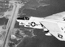 A VA-87 from USS Independence flying over Port Salines airfield in Grenada